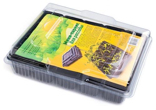 Мини-парник для рассады (поддон черный - 1 шт+крышка прозрачная - 1 шт +кассета 4-х гн. - 5 шт)