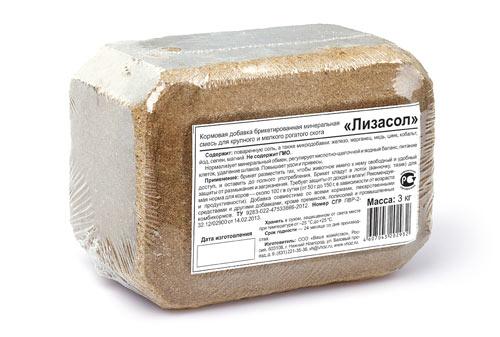 ЛИЗАСОЛ - солевой лизунец для рогатого скота 3 кг