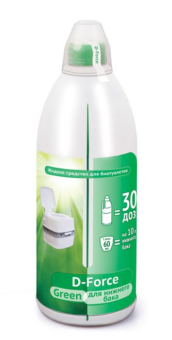 Жидкое средство для биотуалетов D-FORCE grin 1,8л 6шт/м (для нижнего сливного бака биотуалета)